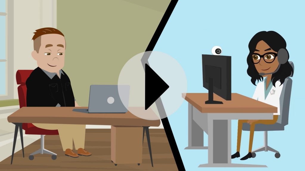two people in different locations on a video conference
