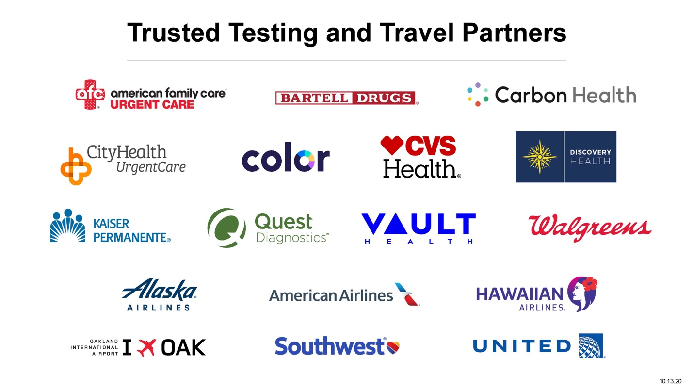 Trusted Testing and Travel Partners October 22, 2020